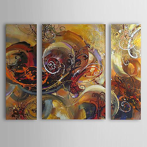 ручная роспись абстрактная картина маслом с растянутыми кадров - набор из 3 Lightinthebox 5156.000