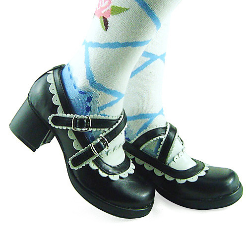 Handmade Классический черный кожаный белой отделкой 4.5cm Высокий каблук Maid Cosplay Лолита обуви Lightinthebox 2148.000