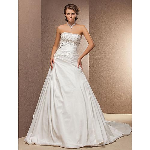 бальное платье без бретелек собор поезд тафты свадебное платье Lightinthebox 8507.000