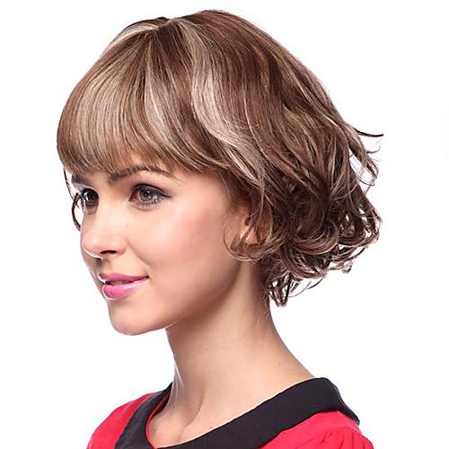 Монолитный парик из 100% натуральных вьющихся человеческих волос (прическа каре с рваной челкой) Lightinthebox 3170.000