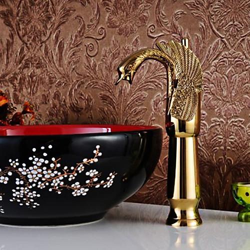 Одноместный Centerset Ручка Rose Gold Finish Swan Стиль Ванная раковина кран Lightinthebox 5585.000