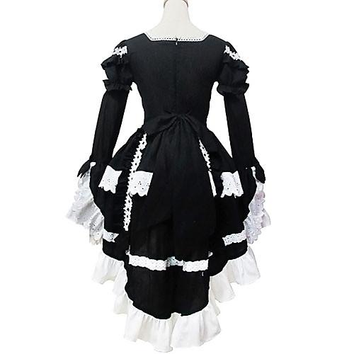 Длинный рукав короткий черный и белый хлопок Shiro и Kuro Лолита платье Lightinthebox 4296.000