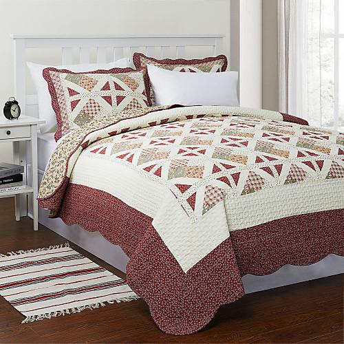 3-х частей Ханна плед лоскутное одеяло хлопка королевой набор Lightinthebox 3652.000