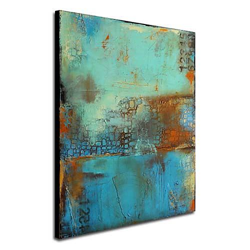 Картины маслом один панельные старинные абстрактные синий цвет ручная роспись холст готовы повесить Lightinthebox 2577.000