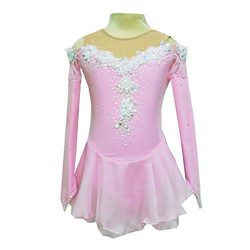 Розовое платье для фигурного катания с полупрозрачной бежевой вставкой из спандекса