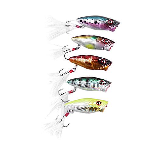 Жесткие пластиковые приманки Поппер рыбалка Приманки с пером 37mm 2.5G (цвет случайный) Lightinthebox 214.000
