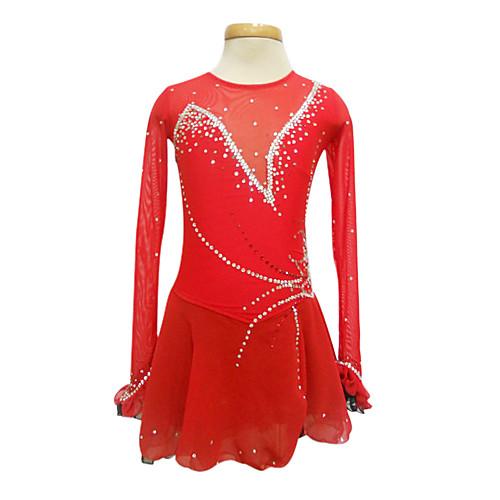 Красное платье для фигурного катания с полупрозрачными рукавами из спандекса