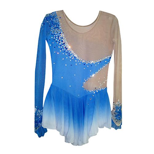 Платье с длинными рукавами для фигурного катания. Цвет - переход от белого к синему, полупрозрачные вставки из спандекса