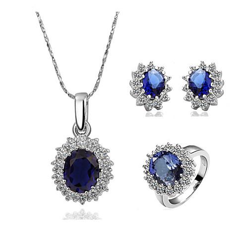 Набор ювелирных украшений с хрусталем и крупным синим камнем (ожерелье, кольцо и серьги) Lightinthebox 858.000