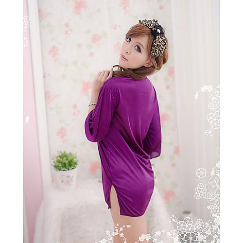 Атласный женский халат фиолетовго цвета с черной кружевной отделкой Lightinthebox 362.000