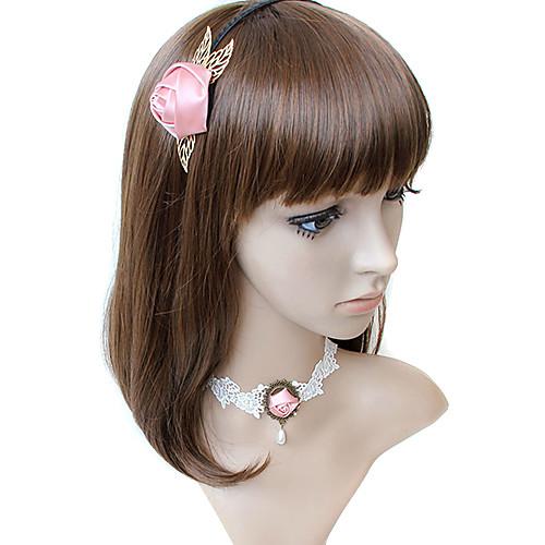 Pink Rose & Pearl Поддельные Воротник Белый Ожерелье Кружево Lightinthebox 257.000