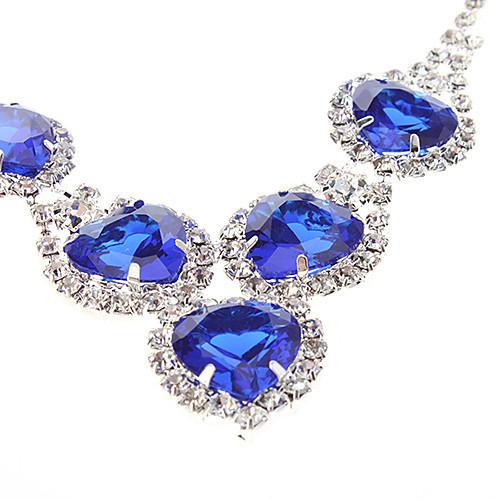 сапфир в форме сердца алмаз обшивки серебряные серьги ожерелье костюмы