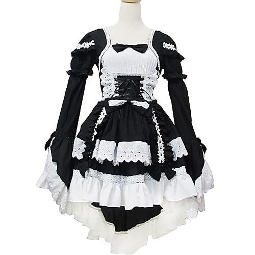 Длинный рукав короткий черный и белый хлопок Shiro и Kuro Лолита платье