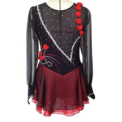 Платье для фигурного катания из корейского бархата, шелка и шифона
