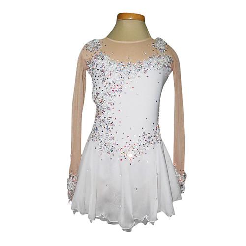 Белое платье для фигурного катания с полупрозрачными рукавами телесного цвета из спандекса