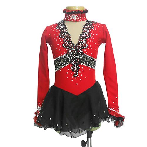 Красное платье для фигурного катания, украшено цветами из шелка, с полупрозрачными вставками из спандекса Lightinthebox 3866.000