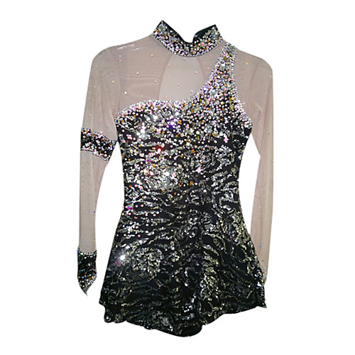 Упругие Spandex блестками Эластичная Чистый черный фигурному катанию одежда Lightinthebox 6874.000