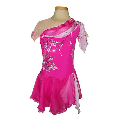 Ярко розовое платье для фигурного катания с полупрозрачными вставками из спандекса