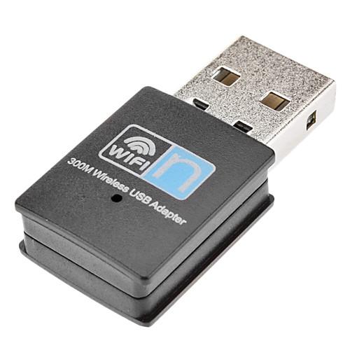 Практические Мини 300M 300Mbps 802.11n беспроводной USB 2.0 адаптер (черный) Lightinthebox 515.000