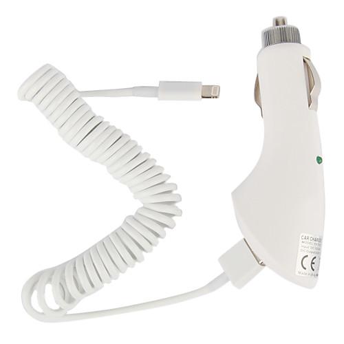 автомобильное зарядное устройство с 100см яблочного 8 контактный спиральным кабелем для IPad мини, IPad 4, Iphone 5, ставку (DC12-24V, 2.1a) Lightinthebox 300.000