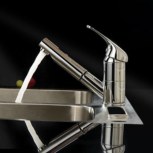 Одной ручкой твердой латуни хромированная отделка вытащить кухонный кран Lightinthebox 3866.000