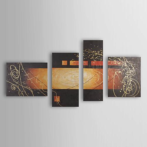 Ручная роспись абстрактной живописи маслом с растянутыми кадра - набор из 4 Lightinthebox 5585.000