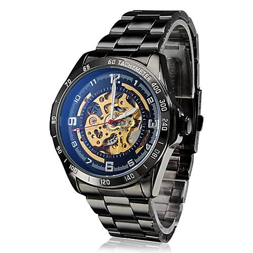 Мужские аналоговые механические влагозащитные наручные часы из стали (черные) Lightinthebox 1331.000