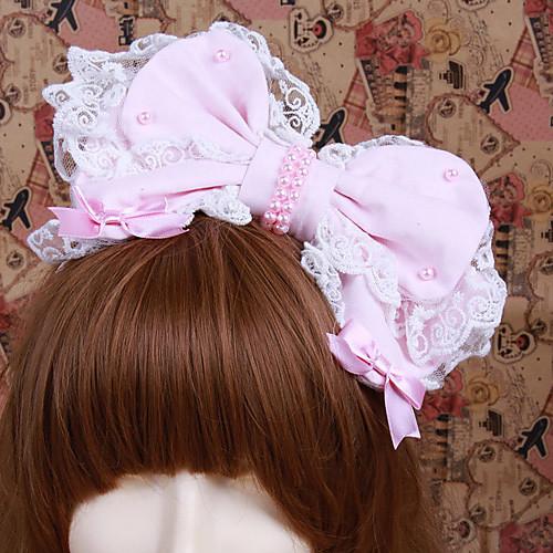 Handmade Розовый хлопок Лук сладкий Лолита оголовьем