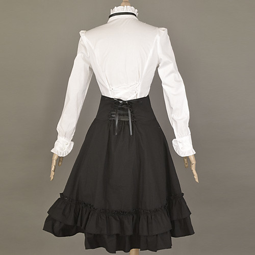 С длинным рукавом белая блузка и Гольфы черная юбка Хлопок школа Стиль Классический Лолита Экипировка Lightinthebox 3437.000