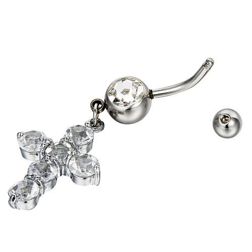Очаровательная Хирургическая сталь крест дизайн кристалл живота кольцо Lightinthebox 103.000