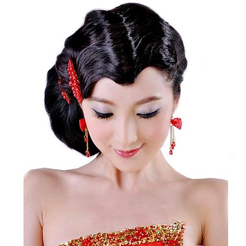 Высокое качество синтетический черный волнистые волосы Bangs Lightinthebox 429.000