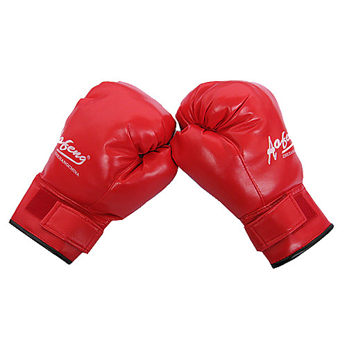 кожа полный пальцем носимых боксерские перчатки (средний размер)