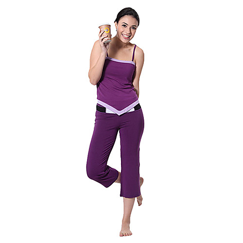 Горизонтальная жилет шеи и капри Фиолетовый Костюмы йоги Lightinthebox 1159.000
