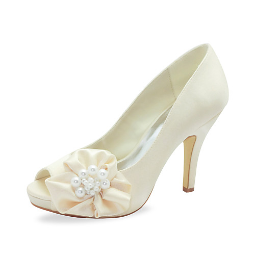 Peep Toe шпилька сатин насосы бракосочетаний Женская обувь (больше цветов) Lightinthebox 2148.000
