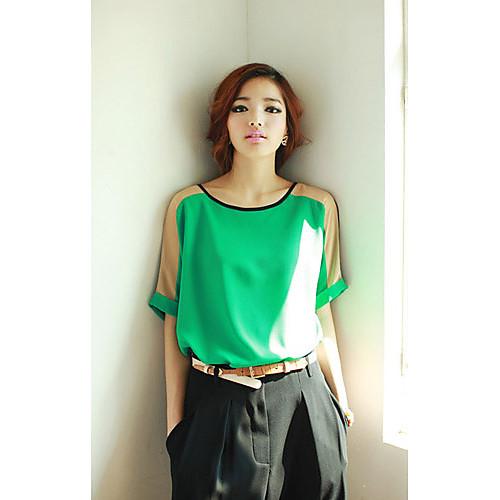 Свободные шифон Женские блузки Цветовой контраст Lightinthebox 697.000