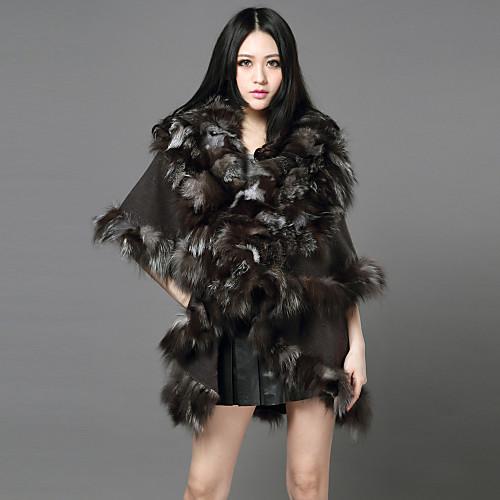 половина рукава шаль меха лисы / шерсть случайный / партии пальто Lightinthebox 12890.000