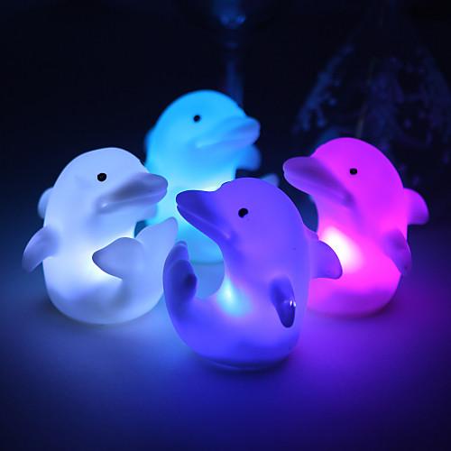 прекрасный винил дельфин светодиодные лампы - комплект из 4 (изменение цвета, встроенные в клетки боты) Lightinthebox 183.000