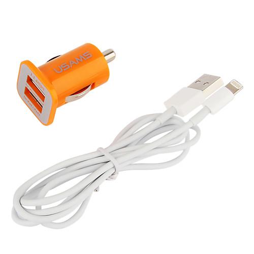 Dual USB порт автомобильное зарядное устройство с 100см яблоко 8-контактный кабель для IPad мини, iphone 5, IPad 4 (DC12-24V, 3.1a) Lightinthebox 257.000