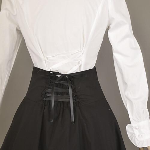 С длинным рукавом белая блузка и Гольфы черная юбка Хлопок школа Стиль Классический Лолита Экипировка