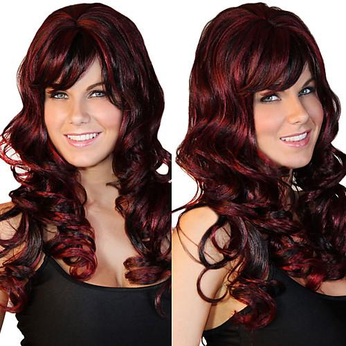 Роскошные красное вино и черный смешанный цвет длинный парик Curly Lightinthebox 730.000
