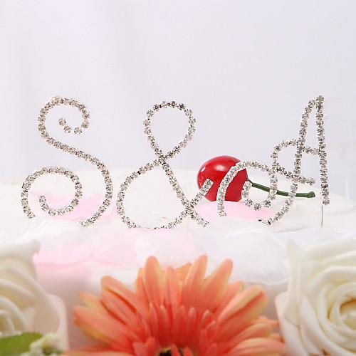 Хрустальные инициалы невесты и жениха на свадебный торт Lightinthebox 85.000