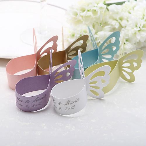 Персонализированные бабочка дизайн бумага перлы салфетки кольца - набор из 12 (больше цветов) Lightinthebox 214.000