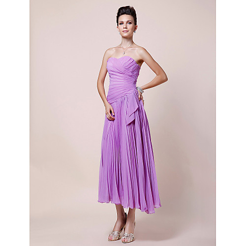 Платье для дам, плиссированное из шифона чайной длины, А-силуэт Lightinthebox