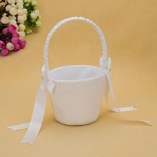 белое атласное свадебное цветочную корзину с бантом Lightinthebox 591.000