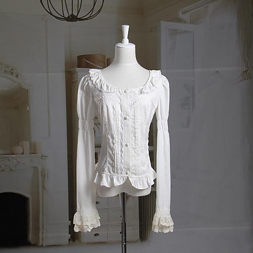 Блузы/сорочки Классическая и традиционная Лолита Лолита Косплей Платья Лолиты Белый Однотонный Длинный рукав Лолита Блузка Для Женский фото