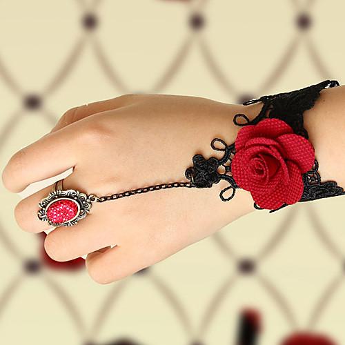 Цветущая роза ручной Черное кружево Готическая Лолита браслет кольца