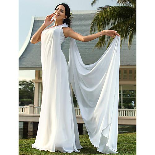 оболочкой / колонки возлюбленной суд поезд шифон свадебное платье кружевами Lightinthebox 4253.000