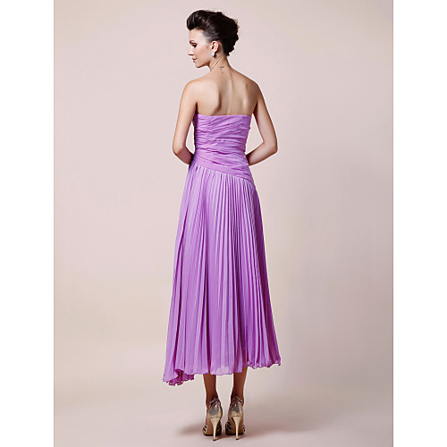 Платье для дам, плиссированное из шифона чайной длины, А-силуэт
