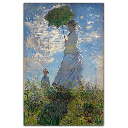 Женщина с зонтиком - Мадам Моне и ее сына Клода Моне известный постер Lightinthebox 858.000