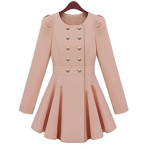 Pinklady сладкого двойные качели груди складки оболочки длинное пальто Lightinthebox 1503.000